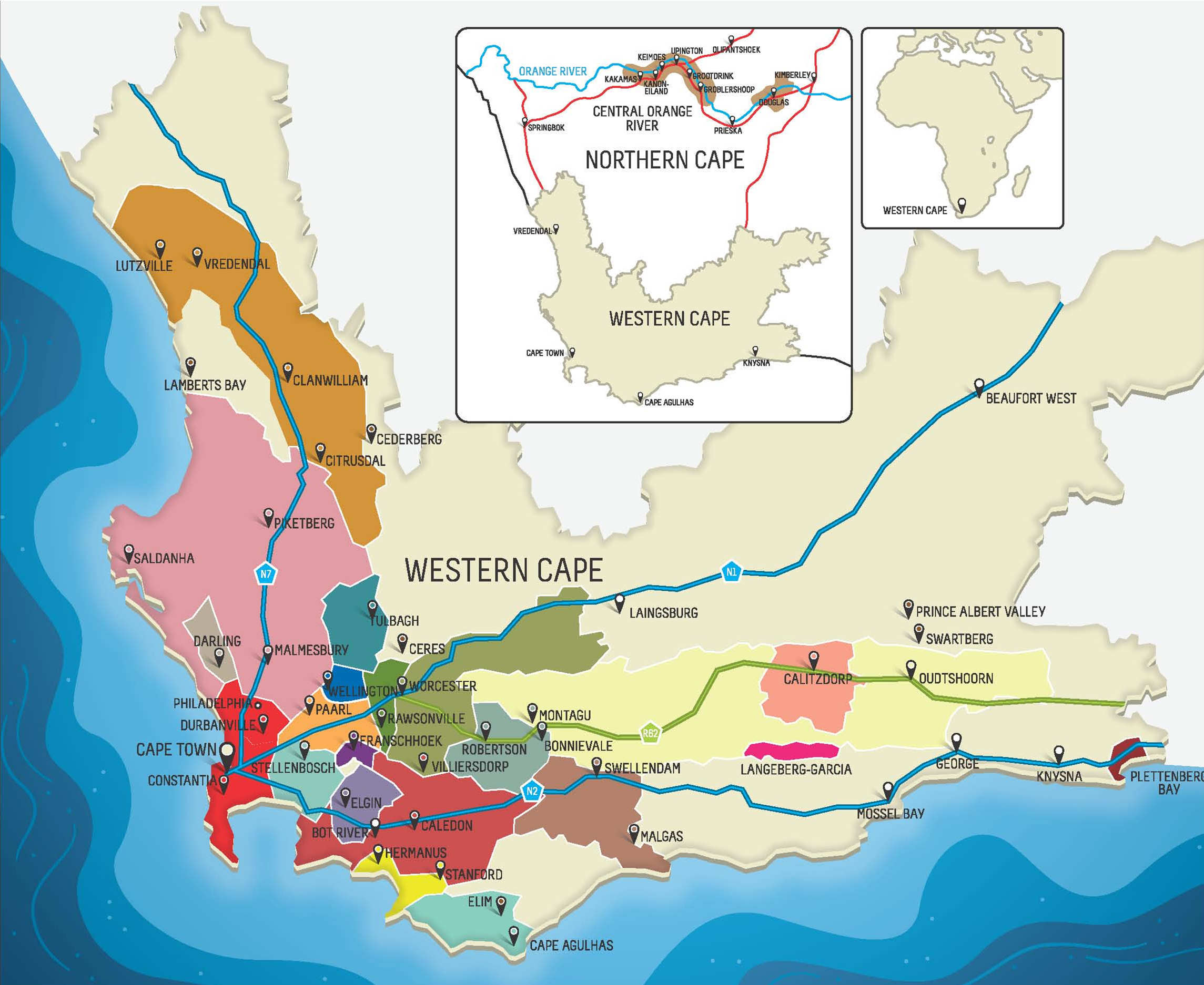 South Africa Wine Map